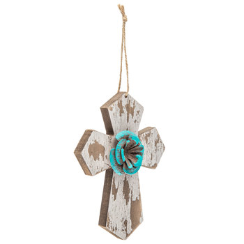 Turquoise Flower Wood Wall Cross